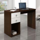 Mesa para Computador com 2 Gavetas Tabaco e Branco Movelbento