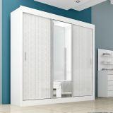 Guarda-Roupa Aline 3 Portas Com Espelho Branco & Trama Areia Moverama
