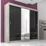 Guarda-Roupa Aline 3 Portas Com Espelho Cinza & Preto Moverama