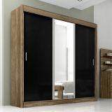 Guarda-Roupa Aline 3 Portas Com Espelho Rovtouch & Preto Moverama