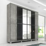 Guarda-Roupa Flavia 6 Portas Com Espelho Cinza & Preto Moverama