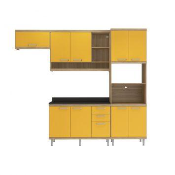 Cozinha Compacta Sicilia 6 Argila Texturizado Amarelo Tampo MDP Preto Multimóveis 5145