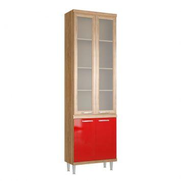 Paneleiro 70cm Argila Texturizado lacca Vermelho e Mold. Argilacom Vidro Multimóveis 5121