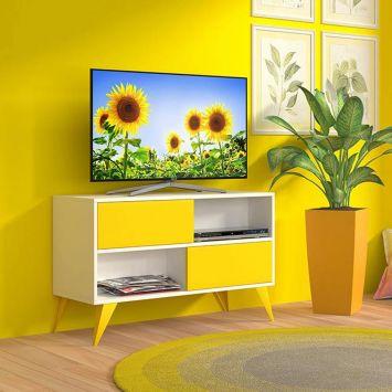 Rack 0.9 Vivva Branco e Amarelo Multivisão Multivisão RACK - VIVVA900 - UV - BRAM