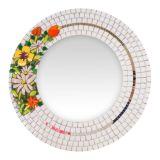 Espelho Redondo Branco com Flores em Relevo