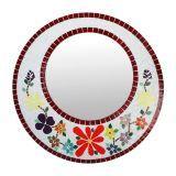 Espelho Retangular Mosaico Vermelho