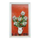 Quadro Mosaico Relevo Margaridas Brancas
