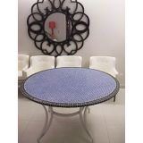 Tampo de Mesa em Mosaico Marroquino Azul e preto 100 cm