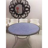 Tampo de Mesa em Mosaico Marroquino Azul e preto 60 cm