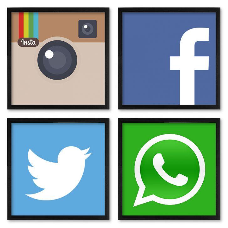 Quadros 20x20 (4 Uni) Nerderia Social Media DESCONTO DE R$: 90,00 (52,97% OFF) - OFERTA MOBLY
