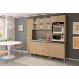 Cozinha Compacta 10 Portas Malu Amêndoa Tok Nogueira Tok - Nicioli