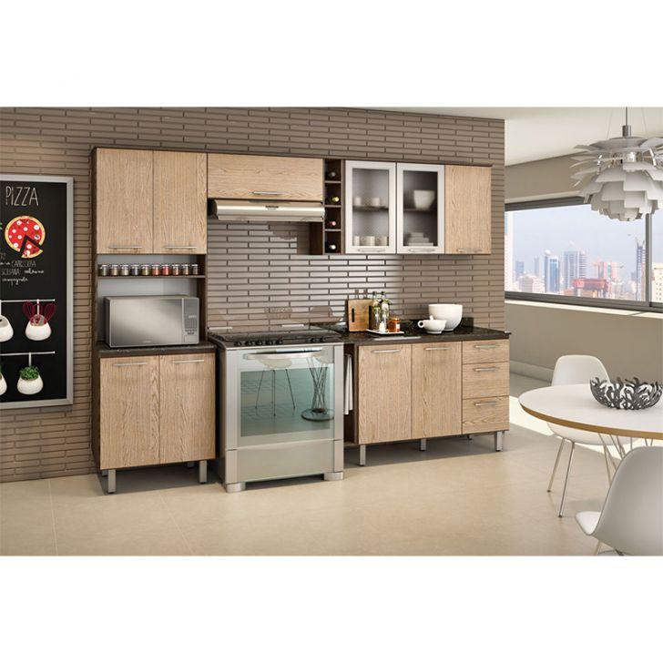 Cozinha Compacta Melissa Amêndoa Tok Nogueira Tok - Nicioli DESCONTO DE R$: 584,01 (25,93% OFF) - OFERTA MOBLY