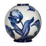 Vaso de Cerâmica Azul e Branco 18Cm Nusa Dua