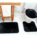 Jogo De Banheiro Classic 3 Peças - Preto