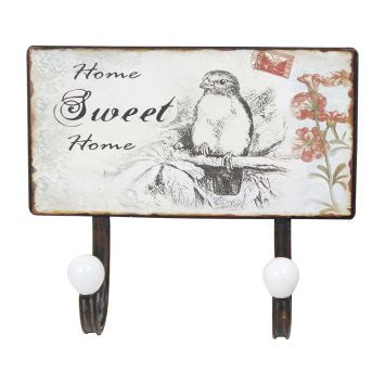 Gancheira Dupla Home Sweet 23X20X6 Branco Oldway Oldway Dupla Home Sweet