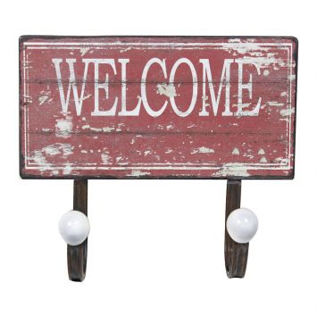 Gancheira Dupla Welcome 23X20X6 Vermelho Oldway Oldway Dupla Welcome