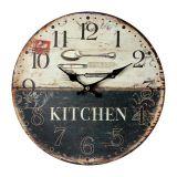 Relógio De Parede Kitchen Talheres Oldway Preto