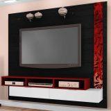Painel Para Tv Olivar Móveis Sonetto Preto, Branco & Vermelho