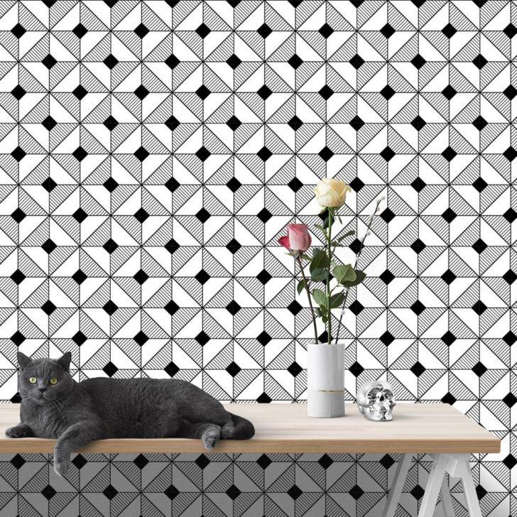 Papel de Parede Autocolante Rolo 0,60 x 5M - preto e branco 0201 DESCONTO DE R$: 40,00 (24,24% OFF) - OFERTA MOBLY