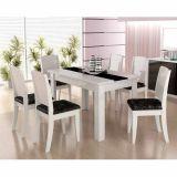 Conjunto de Mesa de Jantar 6 Cadeiras Barbara Branco & Preto