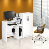 Mesa para Computador com Armário 2 Portas Super Office Branco Patrimar