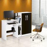 Mesa para Computador com Armário 2 Portas Super Office Branco e Preto Patrimar