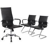 Kit 1 Cadeira Presidente + 2 Cadeiras Interlocutor Charles Eames em Couro P.U. - Preta