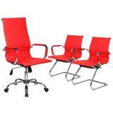Kit 1 Cadeira Presidente + 2 Cadeiras Interlocutor Charles Eames em Couro P.U. - Vermelha