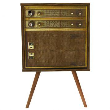 Mesa Lateral Vitrola 1 Porta Nogal 0765 Radio Vitrola Phorman Phorman 0307.0016.0765.