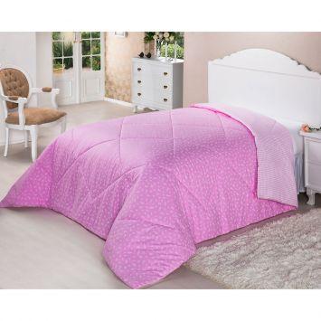 Edredom de Fibra Dupla Face 200 Fios Solteiro 160x220 Pink Deluxe Plumasul 2082