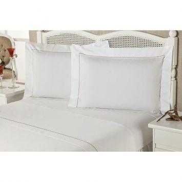 Jogo De Lençol Premium Luxury Casal Bege Percal 233 Fios Plumasul Premium Caress