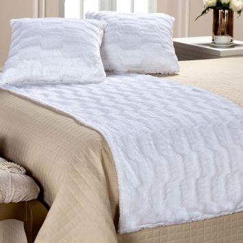 Kit Decorativo Casal 3 Peças Plush Branco Plumasul 2053