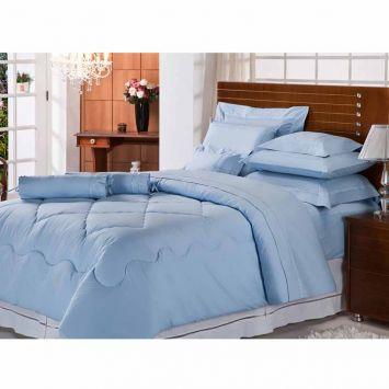 Kit de Cama Majestic Beauty King Azul 233 Fios Plumasul Majestic