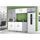 Cozinha Compacta com Balcão 02 Portas 03 Gavetas Letícia - Branco com Cinza