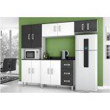 Cozinha Compacta com Balcão 02 Portas 03 Gavetas Letícia - Branco com Preto