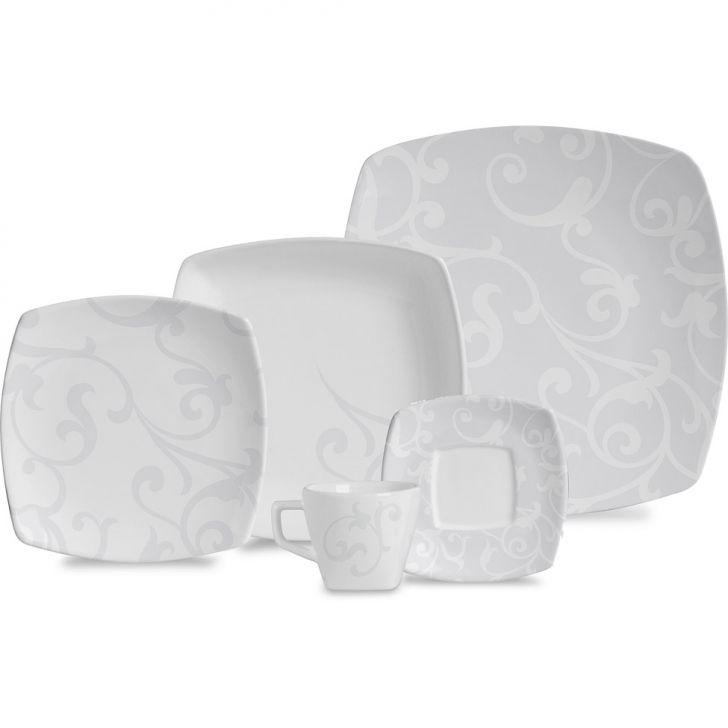 Jogo de Jantar Quadrado Bianco Cerâmica 30 pçs
