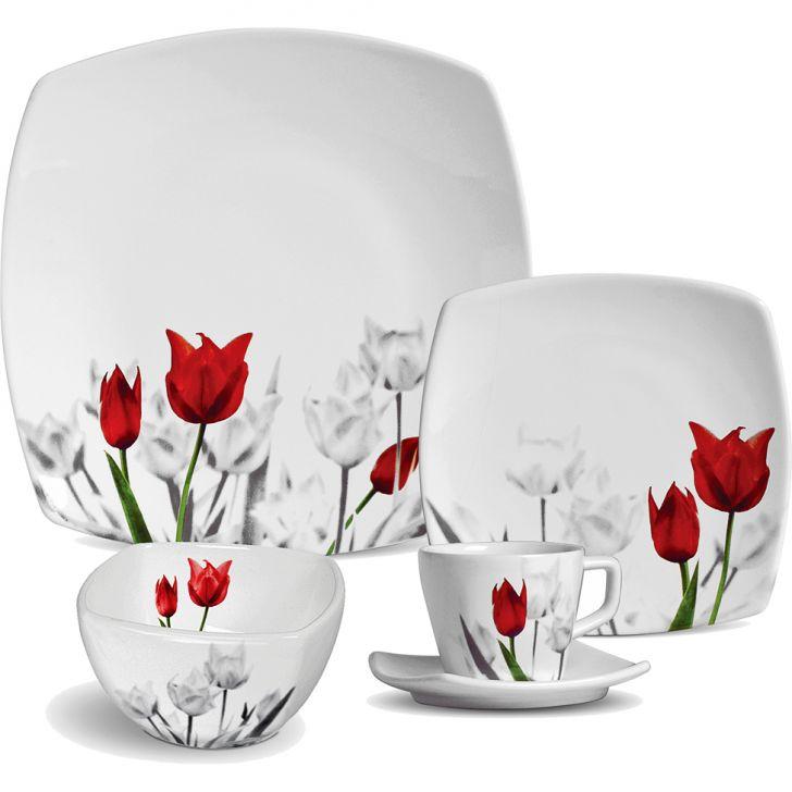 Jogo de Jantar Quadrado Tulipa Cerâmica 30 pçs