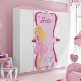 Guarda-Roupa Infantil Barbie Star 4 Portas 2 Gavetas Branco E Rosa Pura Magia