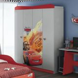 Guarda-Roupa Infantil Carros Disney Star 4 Portas 2 Gavetas Cinza E Vermelho Pura Magia