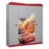 Guarda-Roupa Infantil Carros Disney Star 5A Cinza e Vermelho T1 Pura Magia