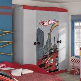 Guarda-Roupa Infantil Hot Wheels Star 4 Portas 2 Gavetas Cinza E Vermelho Pura Magia