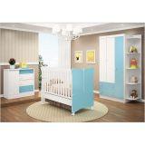 Quarto Infantil com Berço  Mini-Cama Cômoda e Guarda Roupa 03 Portas - Branco com Azul
