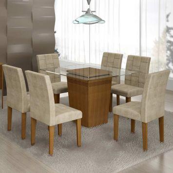 Conjunto de Mesa 1.2 com 6 Cadeiras Ônix Nogueira e Bege Quality Ônix
