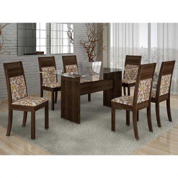 Conjunto de Mesa 1.6 com 6 Cadeiras Ravena Plus Malbec e Floral Quality Ravena