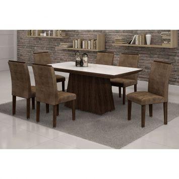 Conjunto de Mesa 1.7 com 6 Cadeiras Sevilha com Vidro Branco Malbec e Marrom Escuro Quality Sevilha