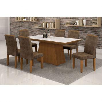 Conjunto de Mesa 1.7 com 6 Cadeiras Sevilha com Vidro Branco Nogueira Marrom Escuro Quality Sevilha