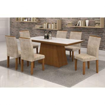 Conjunto de Mesa 1.7 com 6 Cadeiras Sevilha com Vidro Branco Nogueira e Bege Quality Sevilha