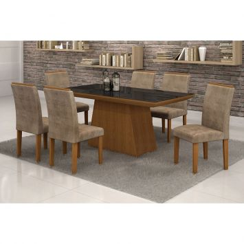 Conjunto de Mesa 1.7 com 6 Cadeiras Sevilha com Vidro Preto Nogueira e Marrom Quality Sevilha