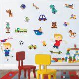 Adesivo De Parede - Menino e Brinquedos 529a