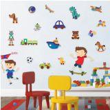 Adesivo De Parede - Menino e Brinquedos 529b